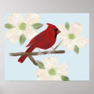Cardinal and Dogwood Watercolor Poster Print