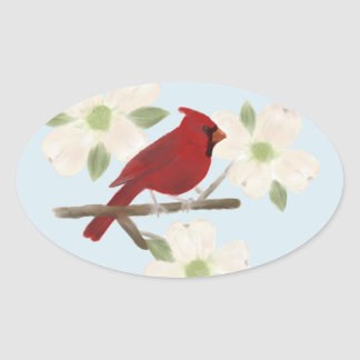 Cardinal and Dogwood Watercolor Stickers