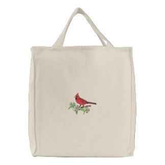 Cardinal and Flowers Embroidered Tote Bag