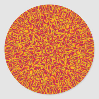 Cardinal and Gold Abstract Flower Classic Round Sticker