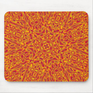 Cardinal and Gold Abstract Flower Mouse Pad