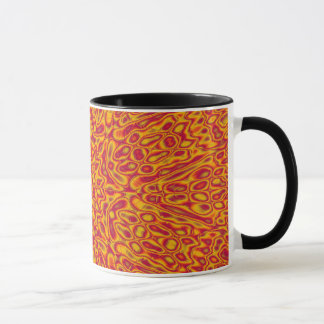 Cardinal and Gold Abstract Flower Mug