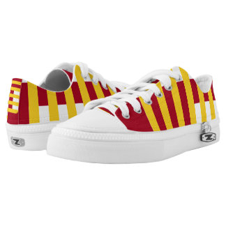 Cardinal and Gold Confined Lo-Top Printed Shoes