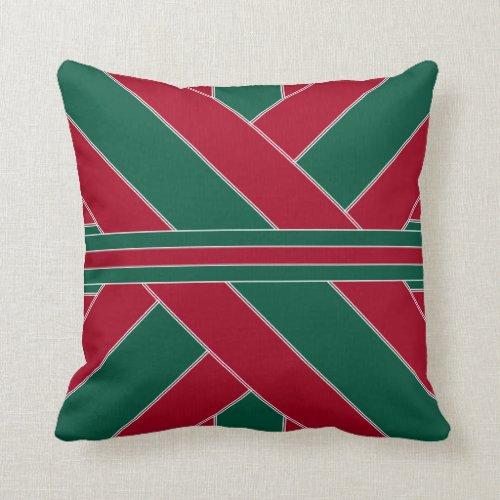 Cardinal and Green Ribbonesque Throw Pillow
