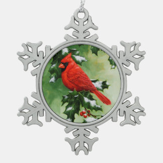 Cardinal and Holly Snowflake Pewter Christmas Ornament