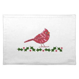 CARDINAL AND HOLLY CLOTH PLACEMAT