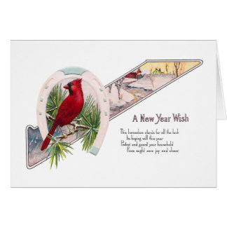 Cardinal and Horseshoe Vintage New Year Greeting Cards