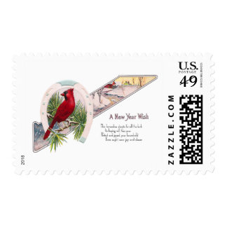 Cardinal and Horseshoe Vintage New Year Postage Stamp