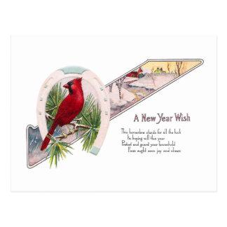 Cardinal and Horseshoe Vintage New Year Postcard