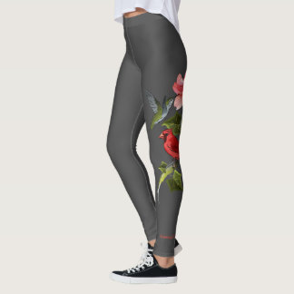 Cardinal and Hummingbird Pink Lily Personalized Leggings