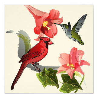 Cardinal and Hummingbird with Lilies and Ivy Card