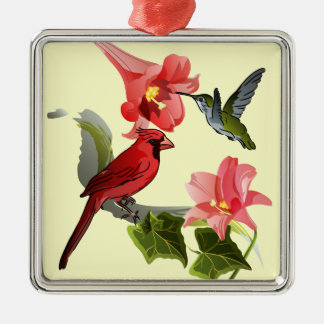 Cardinal and Hummingbird with Pink Lilies and Ivy Metal Ornament