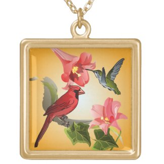 Cardinal and Hummingbird with Pink Lilies and Ivy Necklaces