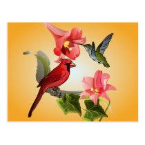 Cardinal and Hummingbird with Pink Lilies and Ivy Postcard
