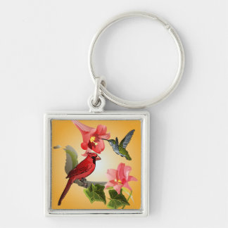 Cardinal and Hummingbird with Pink Lilies and Ivy Silver-Colored Square Keychain