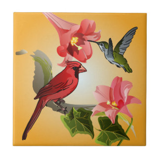 Cardinal and Hummingbird with Pink Lilies and Ivy Tile