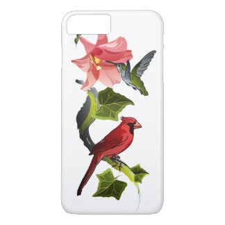Cardinal and Hummingbird with Pink Lily and Ivy iPhone 7 Plus Case