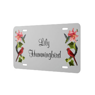 Cardinal and Hummingbird with Pink Lily and Ivy License Plate