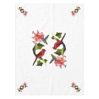 Cardinal and Hummingbird with Pink Lily and Ivy Tablecloth