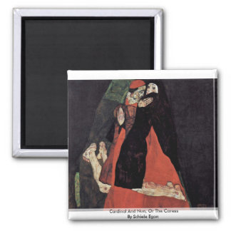 Cardinal And Nun, Or The Caress By Schiele Egon Refrigerator Magnet