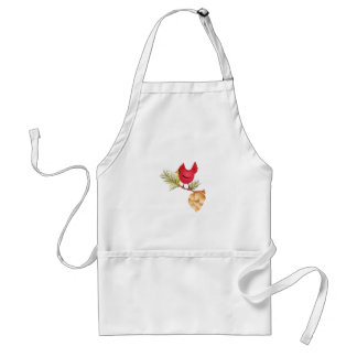 CARDINAL AND PINE CONE ADULT APRON
