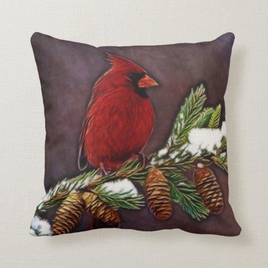 Cardinal And Pinecones Throw Pillow Zazzle Com