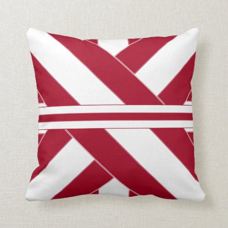 Cardinal and White Ribbonesque Throw Pillow