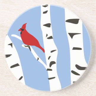 Cardinal and Winter Birch Drink Coaster