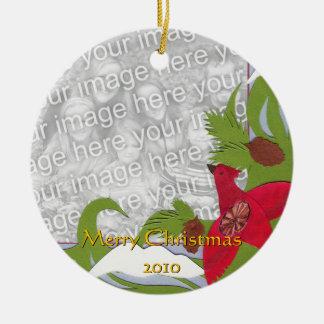 Cardinal and Winter Scene Custom Ornament