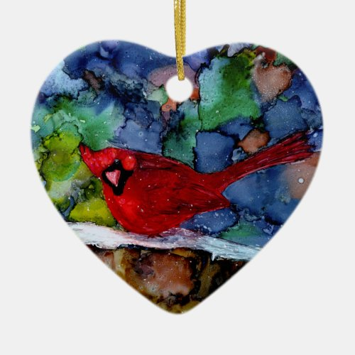 Cardinal At Night Ceramic Ornament