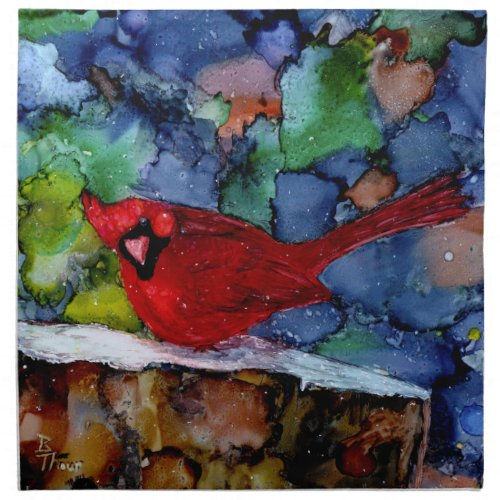Cardinal At Night Cloth Napkin