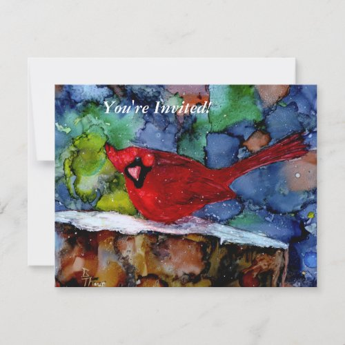 Cardinal At Night Invitation