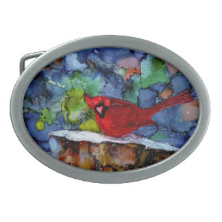 Cardinal At Night Oval Belt Buckle