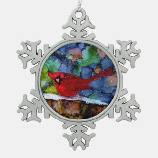 Cardinal At Night Snowflake Pewter Christmas Ornament