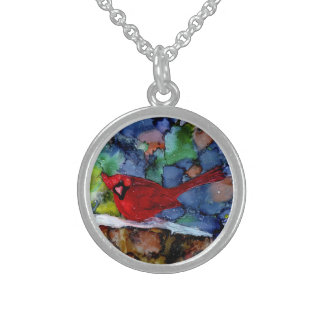 Cardinal At Night Sterling Silver Necklace