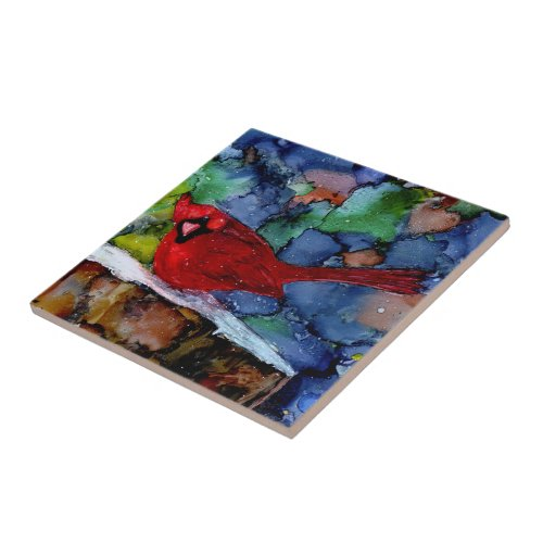 Cardinal At Night Tile