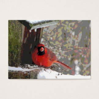 Cardinal at the Feeder ATC Business Card
