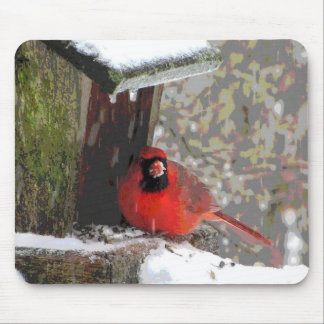 Cardinal at the Feeder Mouse Pad
