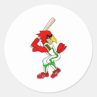 Cardinal Baseball Player Classic Round Sticker