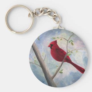 cardinal basic round button keychain