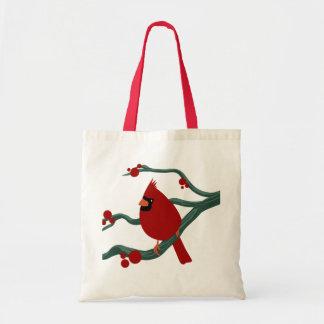 cardinal bird budget tote bag