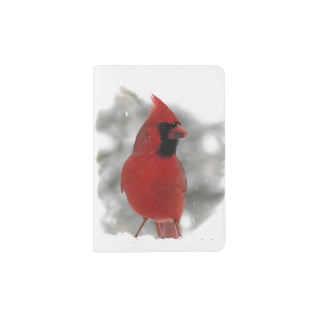 Cardinal Bird in Snow Passport Holder
