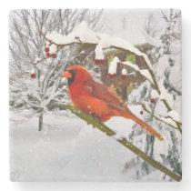 Cardinal Bird in the Snow Stone Coaster