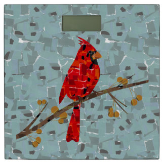 Cardinal bird mosaic bathroom scale