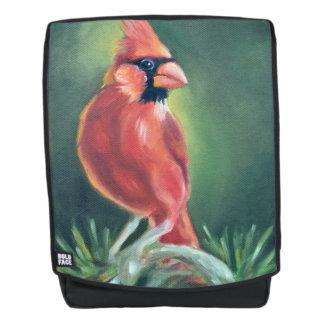 Cardinal Bird Oil painting Backpack