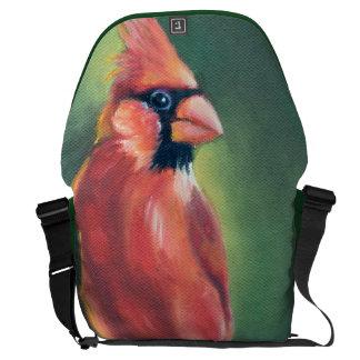 Cardinal Bird Oil painting Courier Bag