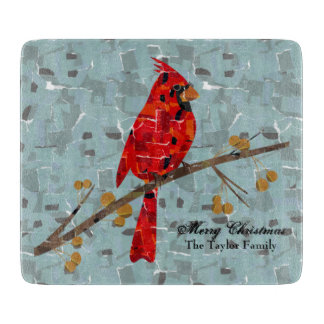 Cardinal Bird on a branch collage Cutting Boards
