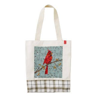 Cardinal Bird on a branch collage Zazzle HEART Tote Bag