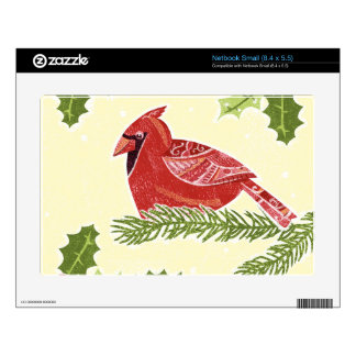 Cardinal Bird on Branch with Christmas Holly Skin For Small Netbook
