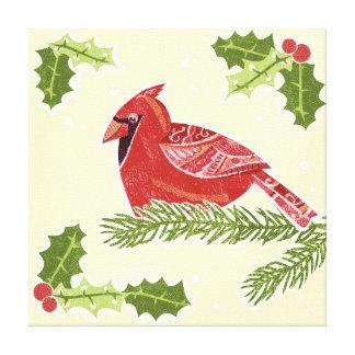 Cardinal Bird on Branch with Holly Christmas Desig Canvas Print